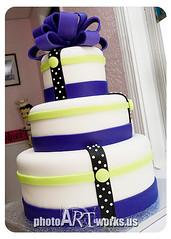 Funky wedding cake (johnniekake) Tags: black purple limegreen stripes bow ribbon