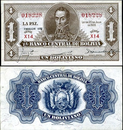 1 Boliviano Bolívia 1928 (1952)