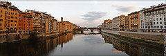 Arno River (lsalcedo) Tags: italy panorama water reflections river earlymorning firenze pontevecchiobridge calmriver