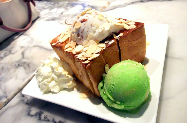 Brick Toast with Coconut-Almond Ice Cream and Pistachio Sorbet