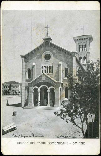 Karpostallarda yangından önce İzmir, Dominikan Kilisesi