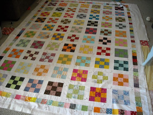 basted 9-patch quilt