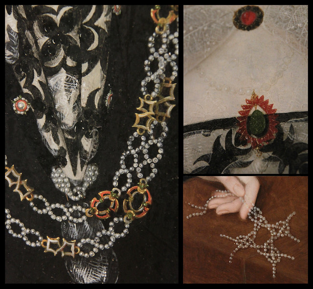 Jewellery detail of Portrait of Mary Rogers, Lady Harington,  Marcus Gheeraerts II, 1592