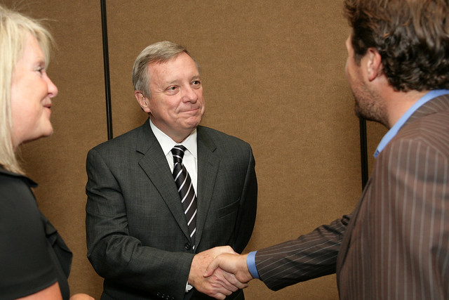 Senator Durbin Greets a Supporter
