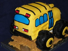 Monster School Bus (Lucie's Cakes) Tags: birthday bus cake truck birthdaycake schoolbus monstertruck yellowknife magicschoolbus cakesinyellowknife