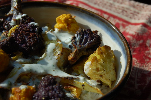 Roasted curried cauliflower with raita by Eve Fox, Garden of Eating blog copyright 2010