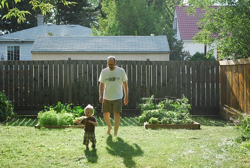 Dad and Colin in the vegetable garden