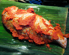 Grilled Fish with Sambal in Banana Leaves