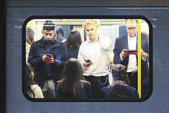 Day 179 (Tres Seis Cinco) Tags: 365 365project 365photoproject aphotoaday train underground tube london uk men man mobilephones day179