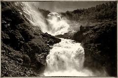 Kjosfossen waterfall, Norway (mike.read44) Tags: waterfall water rock monochrome black white flam flambanarailway norway