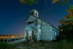 Christian Church (Noel Kerns) Tags: oklahoma church night creek town ghost christian tar superfund picher