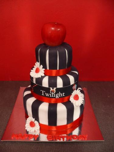 3 Tier black & white Twilight themed cake