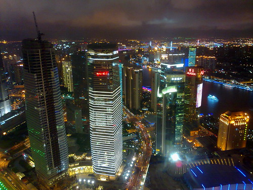 Shanghai at night from the Oriental Pearl TV Tower