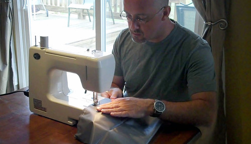 Me Sewing a Stuff Sack