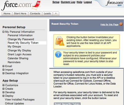 Salesforce Reset Security Token