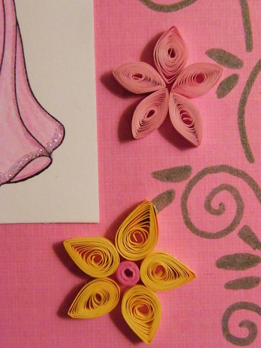 Princess quilling card flowers