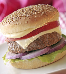 Meat - Cheese Burger with Mayo, Onion and Toma...