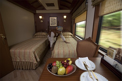 Bedroom with Twin Beds on a Luxury Train (Train Chartering & Private Rail Cars) Tags: indiantrain privatetrain privaterailcar chartertrain traincharter trainchartering privatecarriage luxurytravel luxurytrain luxurytrainclub indianluxurytrain maharajasexpress