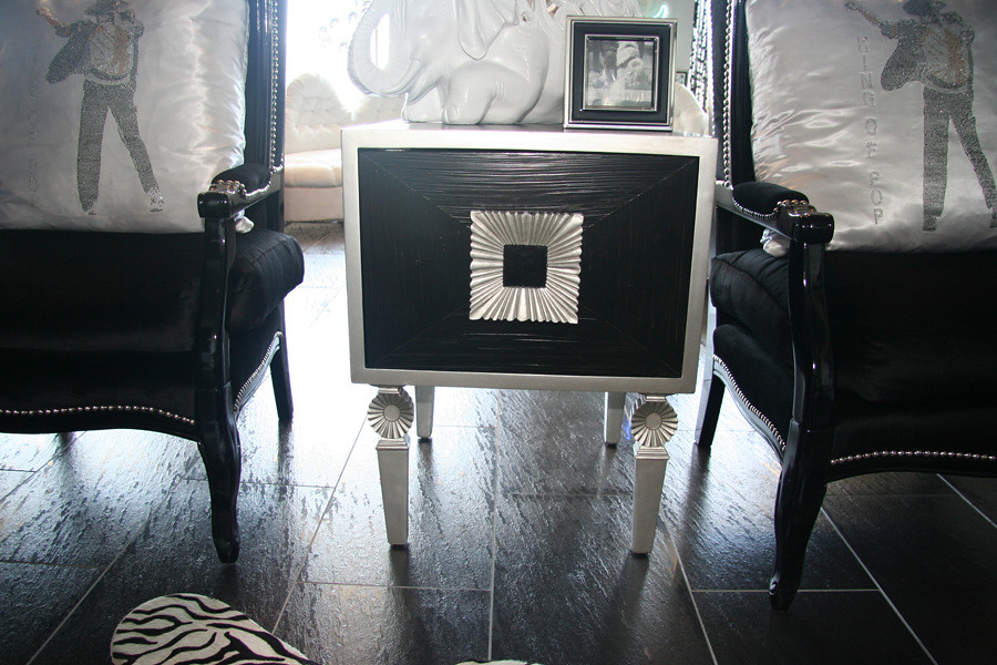 Black  & Silver Square Side Table