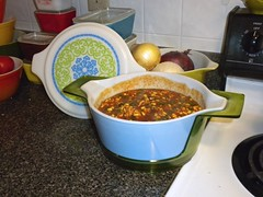 Spicy Corn and Chicken Chili (Jen Isawesome) Tags: ocean chicken corn chili action bowl casserole unknown cinderella bakelite spicey pyrex cradle filigree