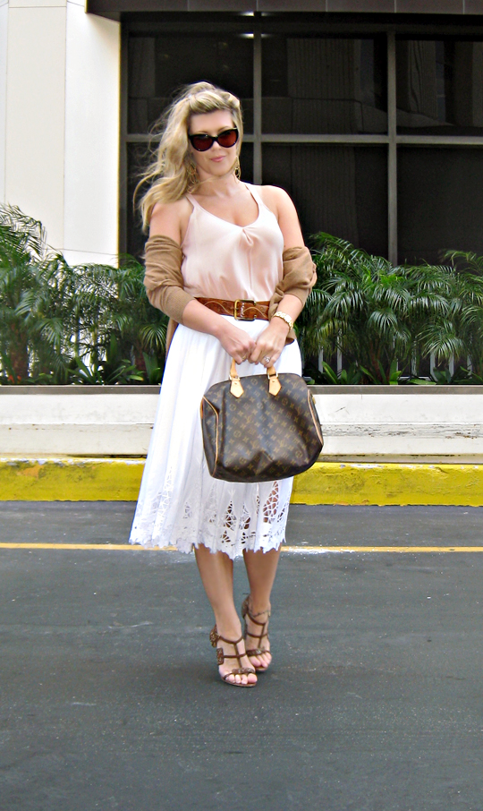 cardigan dressing+white skirt+brown accessories+wind blown+tom ford anouk sunglasses