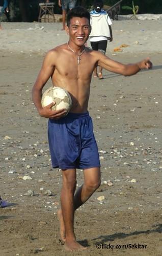 Football Player at Pantai Lasiana near Kupang, Timor Barat
