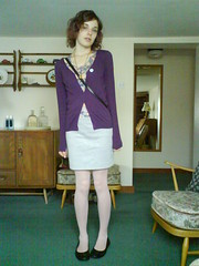 (l wrs chlths!) Tags: summer girl august tights skirt flats teen cardigan ankles 2010 purplehair thischarminggirl rocknrose