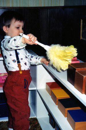 Will (3) in our Montessori homeschool classroom, 1988.