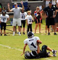Sacked! (McLucky34) Tags: football raiders bennettpark forsythcounty wareagles forsythco sharonspringspark fcyfa