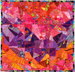 V (Zanny7) Tags: red orange hot color art yellow triangles quilt fiberart fiber purpleaqua