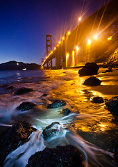 (jonmartin ()) Tags: ocean sf sanfrancisco california longexposure bridge sea orange usa mist lightpainting colour beach nature wet water ecology weather rock fog america us twilight sand scenery rocks waves unitedstates pacific sfo unitedstatesofamerica tripod transport wideangle led coastal transportation goldengate beaches land northamerica flashlight environment coastline recreation activity splash westcoast environmentalism channel activities ecosystem ggb outdoorrecreation sportsrecreation sneakerwave cvkc