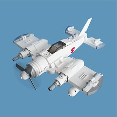 Ykai Zero - Sky Fighter (Fredoichi) Tags: fighter lego space military micro skyfi microscale dieselpunk skyfighter fredoichi