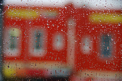 Thu the Bus Window (Dovid100) Tags: windows red buses rain droplets commuting
