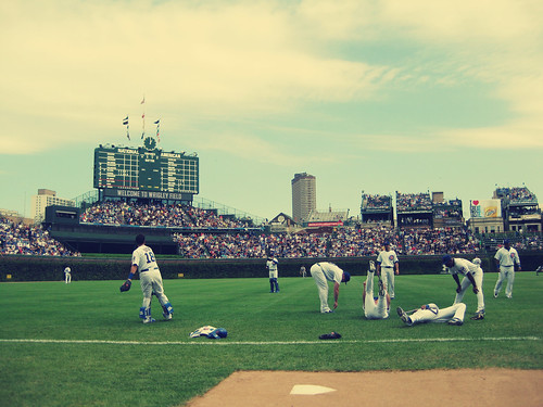 Cubs players stretching at Wrigley Field