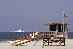 Russian Yacht and lifeguard tower (Karol Franks) Tags: ocean california beach losangeles google sand yacht lifeguard socal bing founders flightpath copyrighted dockweiler statebeach ilovela portraitsofhope okarol karolfranks aingworth summerofcolor pleasedonotuseimageswithoutmypermission wwwportraitsofhopeorg edandberniemassey