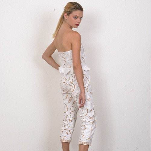 Handmade Embroidery Strapless jumpsuit by Natalie C by wolfandbadger