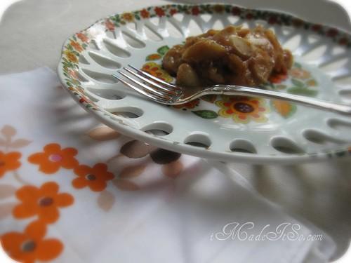 pear crisp on a plate