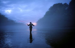 Fly Fishing, South Holston (clarkmackey) Tags: blue reflection water backlight clouds river twilight fisherman shadows purple flyfishing xa casting swordfish lateafternoon scottrussell southholstonriver fishingthesouthholston