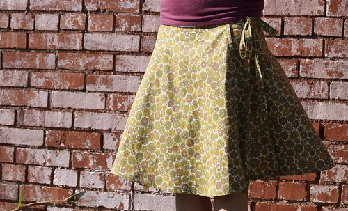 Handmade Half Circle Wrap Skirt in Vintage Fabric