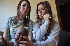 9.8.10 - 360/365 (mama e & mama c) Tags: morning girls baby love roommates boring tired uninteresting 365 bleh wethair percy sickstomach