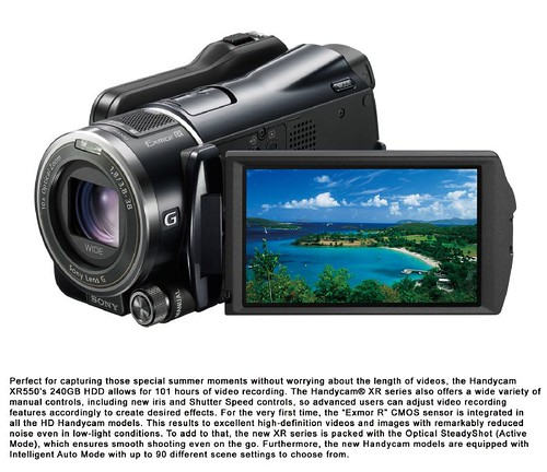Handycam XR550 open LCD