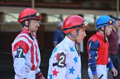 Jockeys Ready to Ride (NjCarGuy) Tags: park horses horse track racing riding jockeys monmouth horsetrack monmouthpark horsejockey