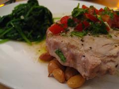 Tuna, borlotti beans and spinach