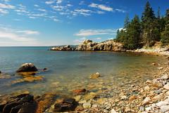 Coast of Maine near Acadia (JTalbot) Tags: trees sky beach water clouds landscape coast rocks maine rocky bluesky shore acadia 2010 rockyshore