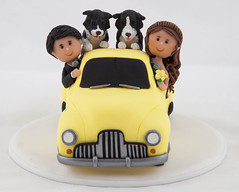 Ute Wedding Cake Topper (Rouvelee's Creations) Tags: wedding dogs cake groom bride ute clay 1950s topper holden polymer rouvelee