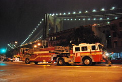 Ladder 118 with Brooklyn Bridge (thoth1618) Tags: nyc newyorkcity ny newyork brooklyn brooklynbridge fdny tiller 118 photooftheday brooklynny brooklynusa ladder118 firedepartmentofnewyork