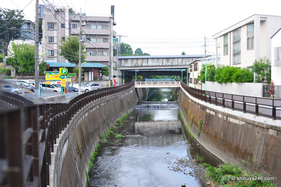 The Sengawa River looking back towards the railway line