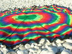 Rainbow Circle Crochet Afghan (babukatorium) Tags: pink blue red orange black color art lana wool yellow circle rainbow funny warm purple handmade turquoise teal crochet violet shades shade blanket afghan hippie psychedelic arcobaleno manta multicolor striped bedspread whimsical haken hkeln emeraldgreen croch coperta ganchillo fuxia uncinetto fattoamano copriletto  tii horgolt uvgreen babukatorium