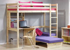 Kinder Highsleeper Bunk Bed: Natural Wood and Lilac Denim
