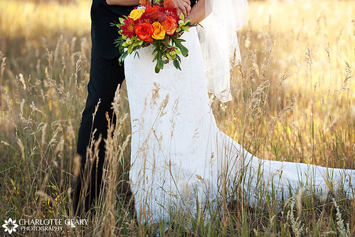 Red yellow and orange bridal bouquet